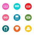 case icons set flat style vector image vector image