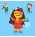 Children in the rain vector image vector image