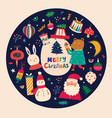 christmas decorative in vintage style with funny vector image vector image