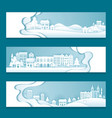 city town village in winter background vector image