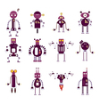 Collection of purple robot icons vector image vector image