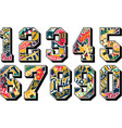 college sporting numbers set with athletic badges vector image vector image
