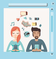 couple with smartphone social media icons vector image vector image