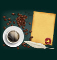 cup with a coffee and beans vector image vector image