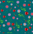 cute floral seamless pattern with abstract flower vector image