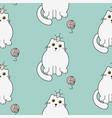 cute kitty princess seamless pattern white vector image