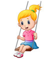 cute little girl playing a swing vector image vector image