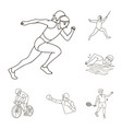 different kinds of sports outline icons in set vector image