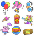 doodle circus colorful set hand draw vector image