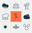 ecology icons set with big tree raindrop clear vector image vector image