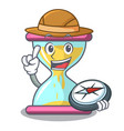 explorer modern hourglass on the table cartoon vector image vector image