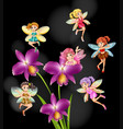 fairies flying around orchid flowers vector image vector image