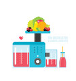 fresh organic juice smoothie bottle and kitchen vector image