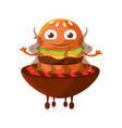 funny smiling burger with big eyes sitting on the vector image vector image