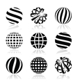 Globe sphere earth icons set vector image vector image