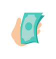 hand holding money banknotes vector image vector image
