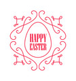 happy easter - festive card with floral line art vector image