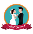 just married couple holding hands label vector image