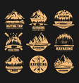 kayaking rafting club and canoe sport icons vector image vector image