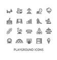 kid playground sign thin line icon set vector image