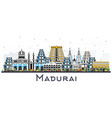 madurai india city skyline with color buildings vector image vector image