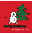 Merry Christmas postcard with fir and snowman vector image