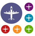 military plane icons set vector image vector image