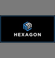 mm hexagon logo design inspiration vector image vector image