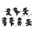 ninja character cute cartoon fighter with sword vector image