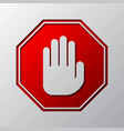 paper art of the red stop hand sign vector image vector image