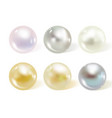 realistic different colors pearls set vector image vector image