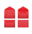 realistic red envelope set on white vector image vector image