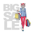 retro hipster animal girl cheetah big sale vector image vector image