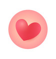 round heart icon sticker for valentines day vector image vector image