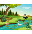 Scene with three ducks by the pond vector image vector image