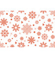 Seamless pattern with red snowflakes on a white