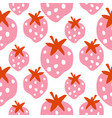seamless strawberry pattern texture with bold pink vector image vector image
