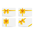 set gift cards with golden bow vector image vector image