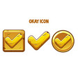 set gold icons okay with a check mark vector image vector image