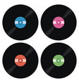 set of music retro vinyl record icons vector image vector image