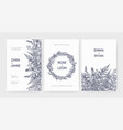 set of trendy wedding invitation templates vector image vector image