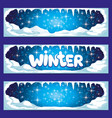 set of winter banners with icicles and snow vector image vector image