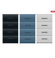 set office cabinet with drawers vector image