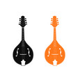 silhouette of mandolin in black and orange color vector image vector image
