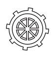 sketch silhouette gear wheel in shape boat helm vector image vector image
