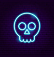 skull neon sign vector image