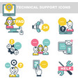 technical support icons which symbolize help by vector image