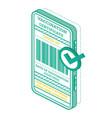 vaccination certificate on screen smartphone vector image
