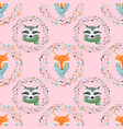 watercolor cute animal pattern vector image vector image