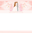 wedding couple on floral background card vector image